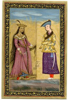 Painting; composite picture of two miniatures depicting a double portrait. A young man wearing court dress stands on the right, arms folded, facing a crowned European lady, possibly a saint. The woman stands with her hair hung down her back, delicately lifting the front of her dress. No text. Calligraphy on verso. Painted in gouache and gilded on paper; Indian -      Ascribed to: Riza-yi 'Abbasi -      Persian School-1667-1694