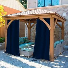 Outdoor Curtain Rods, Outdoor Curtains For Patio, Outdoor Privacy, Pergola Curtains, Indoor Outdoor, Outdoor Living, Outdoor Decor, Outdoor Ideas, Navy Curtains