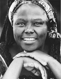 "Wangari Maathai - Kenyan environmentalist and human rights campaigner.  She was the first woman from East and Central Africa to earn a doctorate degree. As part of the National Council of Women of Kenya, she developed the Greenbelt Movement, which has assisted women in planting more that 20 million trees. In 2004 she was awarded the Nobel Peace Prize.  ""It's the little things citizens do. That's what will make the difference. My little thing is planting trees."""