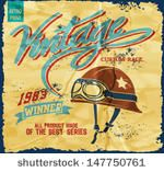 illustration retro race motor for apparel,Vintage motorcycle helmet,Vintage Motorcycle Race hand drawing ,T-shirt Print - stock vector