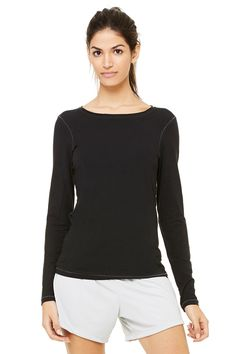Bella Canvas Women's Long Sleeve Bamboo Tee Shirt | ALO SPORT | Black + Slate