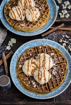Pumpkin Spice Waffles with Vanilla Ice Cream and Caramel Sauce