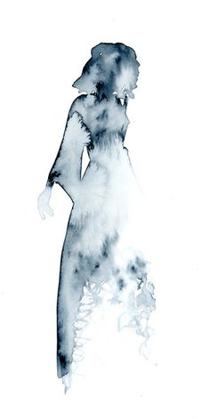 Silhouette in Grey. Watercolour woman. Dress. Silhouette. Wedding dress.