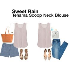 Untitled #13607 by hanger731x on Polyvore I am looking for a white top and this seems easy breezy, and not billowy