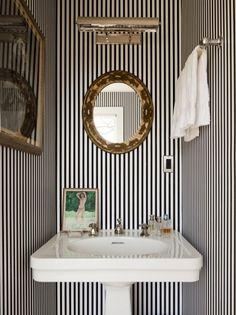 stripes in a powder room