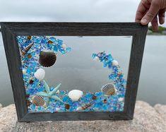 Free Shipping White Frame with Shells and Beach Glass | Etsy Sea Glass Mosaic, Sea Glass Beach, Window Frame Crafts, Beach Ornaments, Mermaid Gifts, Barn Wood Frames, Seashell Crafts, Beach House Decor, Glass Panels
