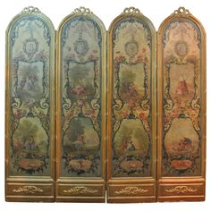 1stdibs.com | Louis XVI Style Painted Canvas Four Panel Screen