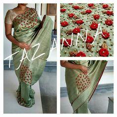 Saree Embroidery Design, Hand Embroidery, Saree Painting, Beaded Mirror, Sari Design, Plain Saree, Sari Dress, Saree Models, Saree Look