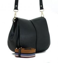 Gianni Chiarini Umhängetasche Helena Round schwarz Überschlag - Bags & more Saddle Bags, Shoulder Bag, Fashion, Pouch, Hand Bags, Leather, Black, Moda, Molle Pouches