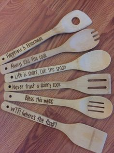 Kitchen wood set with Holder. Holder can be wood burned with family initials. Please leave all information in notes