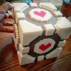 Companion Cube - Portal perler beads by redscorpio1023