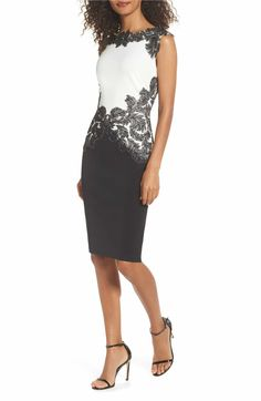 2092568b1c3 Main Image - Tadashi Shoji Feather Appliqué Sheath Dress (Regular & Petite) Sheath  Dress