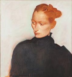 blastedheath:  John Byrne (Scottish, b. 1940), Portrait of Tilda, c.1990. Oil on canvas, 91 x 81cm.