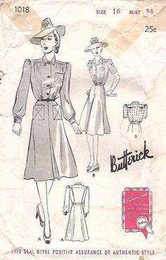 "Vintage 1940's Sewing Pattern Butterick 1018 WWII Day Dress Rare B34"" #Butterick"
