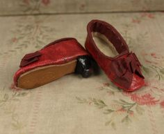 Rare Antique Original Red Kid Leather Slippers for French Fashion from mybebes on Ruby Lane