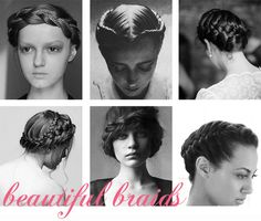 Wedding hairstyle ideas, a round-up of beautiful braids.  Louisa Bailey, Saty+Pratha, Gil Inoue, Martha Stewart.  #braid, #crown, #braidcrown #celebrity #hair
