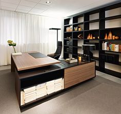 furniture, Modern Furniture Design Ideas With Black Brown L Shaped Desk Design Ideas With Black Bookshelves Design And White Curtain For Modern Home Office Design Ideas With Desk Lap For Workspace Design Ideas: Excellent Modern Furniture Design for Workspace