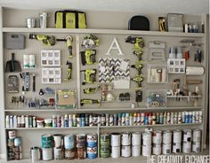 Tutorial for Organizing the Garage with a Pegboard Storage Wall. Tutorial for making a pegboard storage wall that is a great solution for organizing the garage. Step-by-step instructions and great tips for layout. Pegboard Garage, Diy Garage Storage, Garage Walls, Tool Storage, Storage Ideas, Organized Garage, Hang Pegboard, Storage Solutions, Paint Storage