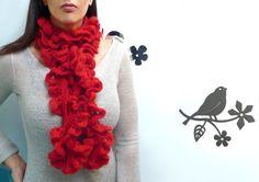 Crochet Ruffled Scarf Red Bohemian Scarflette Cherry by ixela Crochet Ruffle Scarf, Chunky Crochet, Chunky Scarves, Red Scarves, Neck Warmer, Ruffles, Cherry, Creativity, Wraps