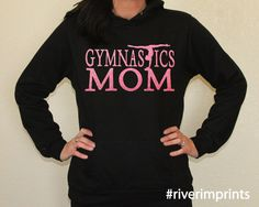 Hoodie GYMNASTICS MOM sweatshirt, lightweight glittery Mom fanwear- choose from 2 styles