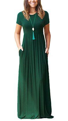 Viishow Women's Empire Elastic Waist Long Dresses Casual Plain Short Sleeve Loose Pocket Maxi Dress (Navy Blue, L) at Amazon Women's Clothing store: