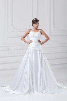 White Spaghetti Straps Court Train Satin Zipper-back Wedding Dress
