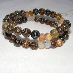 Carved Brown Jade  Agate Two Row Stretch Bracelet in Sterling Silver £17.50