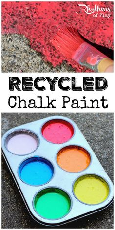 Making recycled chalk paint is a great way to recycle old broken and water soaked pieces of sidewalk chalk. The vibrant colors look beautiful painted on sidewalks and driveways. It is the perfect medium for outdoor process art that can easily be washed away. It's also great for homeschool and STEAM activities.
