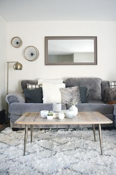 Living Room Updates - brepurposed with Rugs USA's Smooth Shag NV01 Netted Lattice Rug!