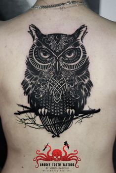 geometric owl tattoo by mehdi rasouli broken tooth tattoos