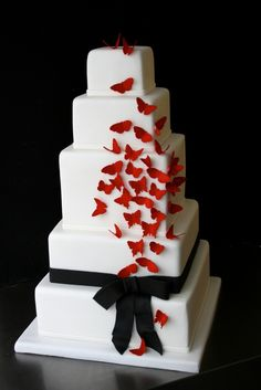 Red butterflies Wedding cake - Sugar Plum Cake Shop