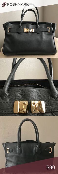 """💫Classic Bag💫 Dark gray💫 Measurements approx 14""""W x 9.5""""H x 5.5""""D  and 6"""" handle drop 💫Soft Leather💫 Lined interior💫Zip closure 💫Slight scratch at the back 💫One pin missing at the front buckle (doesn't affect at all) 🛍Negotiable using offer button🛍                       🚫Trades🚫 Bags"""