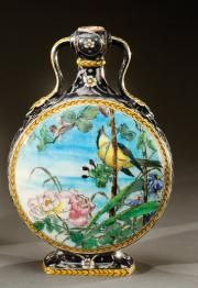 Flask-shaped enameled ceramic vase with bird/floral motif | Theodore Deck