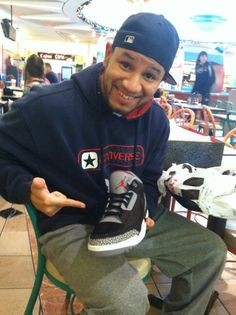 """Air Jordan 3's """"Black Cements""""  Black Friday, last pair in my size!!!! (Yea, you can tell I got 'em, lol)"""