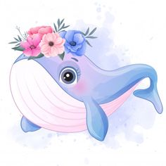 Cute Little Whale With Watercolor Effect Baby Animal Drawings, Cute Cartoon Drawings, Watercolor Illustration, Watercolor Paintings, Flower Watercolor, Watercolor Trees, Watercolor Portraits, Watercolor Landscape, Abstract Paintings