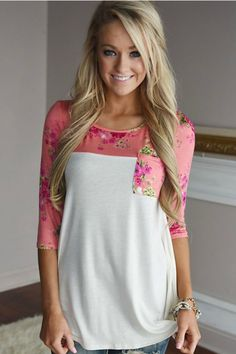 A touch of girly and sass come together to make the perfect top for any occasion! The Always Joyful Top features a 3/4 length sleeve with an O neck, and finished off with a pocket. The top features a
