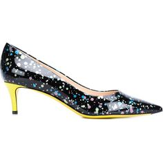 Fendi Splatter Print Pumps ($670) ❤ liked on Polyvore featuring shoes, pumps, black, black stiletto pumps, leather pumps, stiletto pumps, black pointed-toe pumps and leather shoes