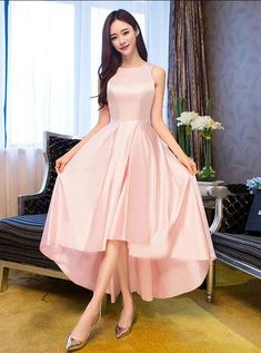 Light Pink Round Neckline High Low Simple Party Dress, Pink New Style Homecoming Dress 2019 Pink Formal Dresses, Prom Dresses For Teens, Homecoming Dresses, Nice Dresses, Beautiful Dresses, Pageant Dresses, Party Dresses, Wedding Dresses, Pink Satin Dress