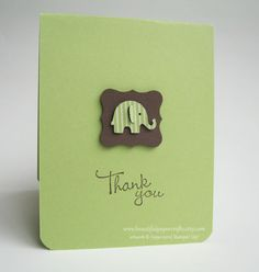 Thank You Baby Elephant Cards Baby Shower by BeautifulPaperCrafts $