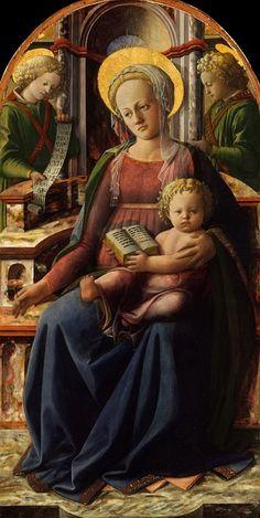 Фра Филиппо Липпи - Мадонна с Младенцем на троне с двумя ангелами. часть 2 Музей Метрополитен