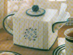 COUNTRY TEAPOT TISSUE BOX COVER PLASTIC CANVAS PATTERN INSTRUCTIONS   #PATTERNFROMAMAGAZINE