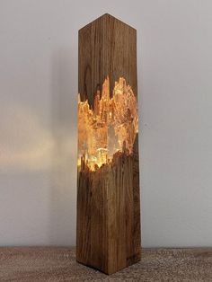 Epoxy wood lamp, lamp, resin table decor, unique night light, decor light - Wood Design - You have been blocked from seeing ads. This unique handmade lamp made of epoxy resin and wood (oak) - Decoration Table, Light Decorations, Christmas Decorations, Christmas Signs, Unique Night Lights, Best Night Light, Epoxy Resin Wood, Diy Epoxy, Wood Resin Table