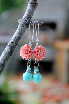 Coral Flower Earrings, Resin Cabochon Earrings, Tiffany Blue Earrings, Something Blue Floral Bridesmaid, Peach Coral, Pantone Strawberry Ice