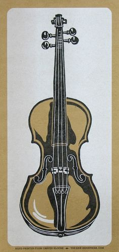 HANDCARVED FIDDLE Violin Print Hand Printed by PioneerHouse, $22.00