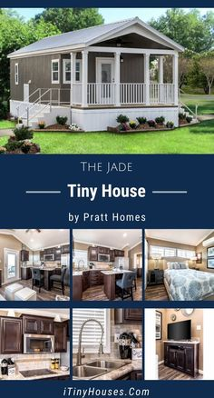 If you& in the market for a tiny house that feels like a smaller version of a standard home, you should look for one which features contemporary décor and a full-size bedroom. The Jade tiny house by Pratt Homes is just such an abode. Two Bedroom Tiny House, Shed To Tiny House, Tiny House Nation, Modern Tiny House, Tiny House Living, Tiny House Design, Tyni House, Farm House, Small House Floor Plans
