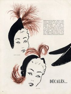 Mourgue 1949 Janette Colombier, Maud Roser, Suzanne Talbot hats