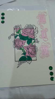 Stamped and colourd floral mothers day card March 17