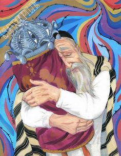 """This is high quality artistic reproduction, signed, printed on x with white margins, heavy weight paper, approved by the artist . """"Jew and the Torah"""" The painting was the staple… Daha fazlası Jewish History, Jewish Art, Arte Judaica, Simchat Torah, Gouache Painting, Christian Art, Cover Art, Photos, Canvas"""