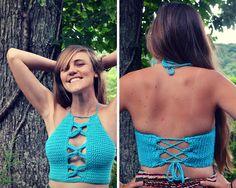 Crochet crop top halter pattern Sirius by MermaidcatDesigns