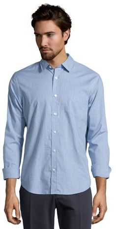 $63, Light Blue Chambray Long Sleeve Shirt: Vince Light Chambray Cotton Woven Single Placket Button Down Shirt. Sold by Bluefly. Click for more info: https://lookastic.com/men/shop_items/176836/redirect